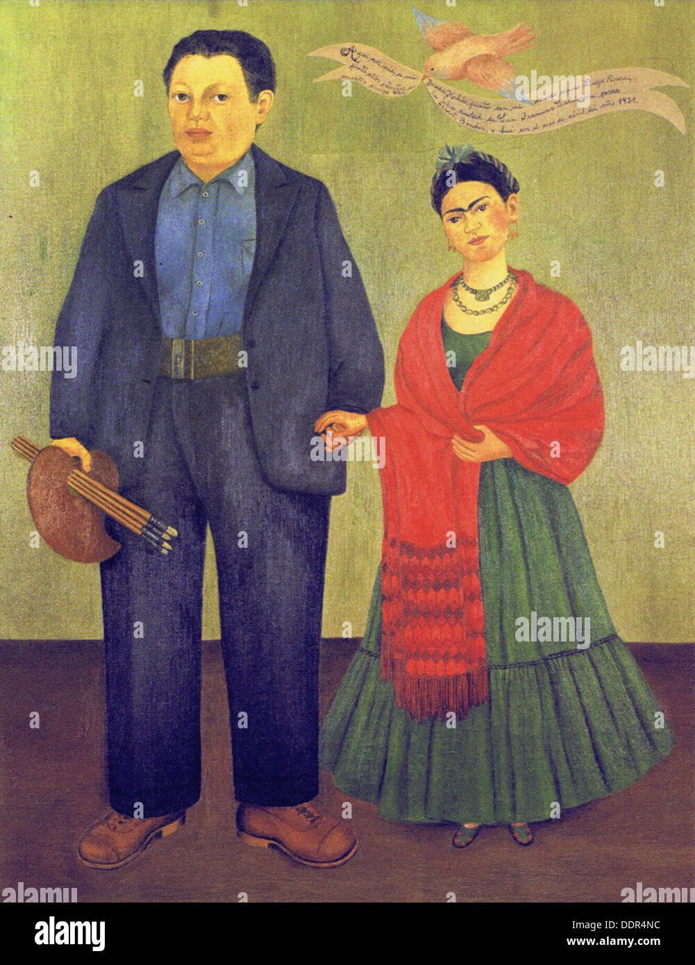 Frida Kahlo - io e Diego Rivera - 1931 Immagini Stock