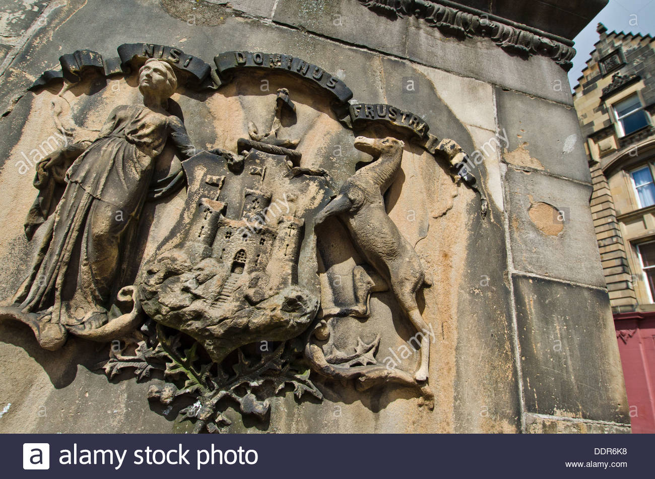 Dettagli su West Bow ben costruito (1681) nella parte inferiore della Victoria street sul Grassmarket nel centro storico di Edimburgo. Immagini Stock