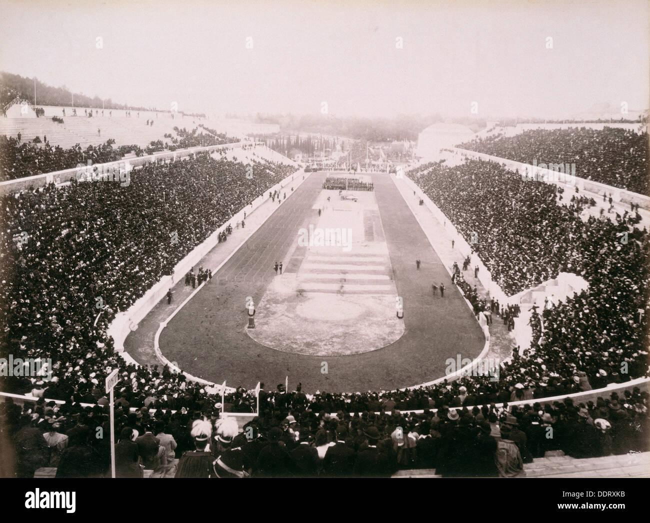 Vista dei primi giochi olimpici moderni ad Atene, 1896. Artista: sconosciuto Immagini Stock
