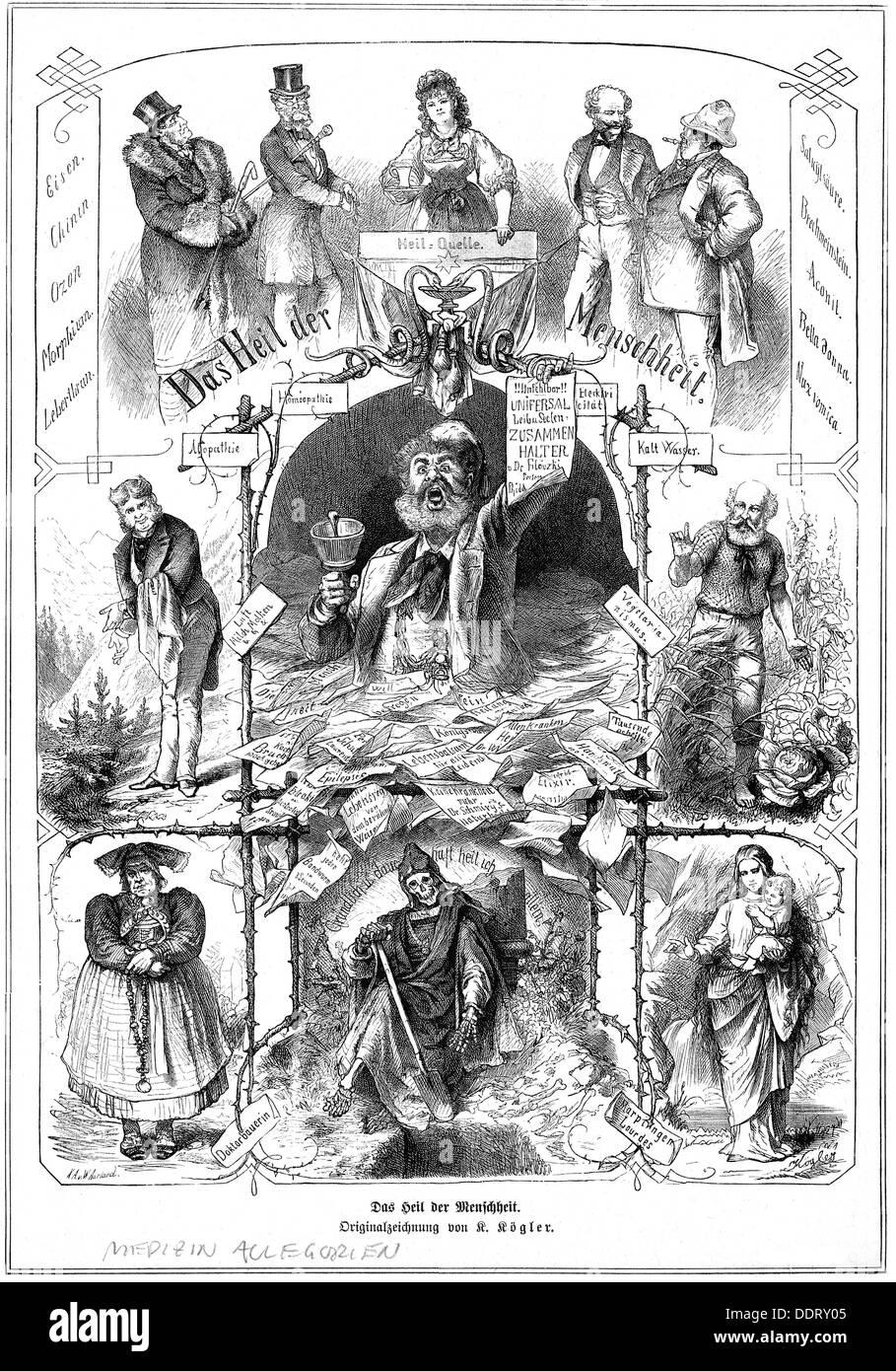 Medicina, allegorie, 'Das Heil der Menschheit' (la salvezza dell'umanità), dopo il disegno di Kaspar Kögler (1823 - 1923), incisione in legno di W.Aarland, da: 'Die Gartenlaube', Lipsia, 1878, diritti aggiuntivi-clearences-non disponibile Foto Stock