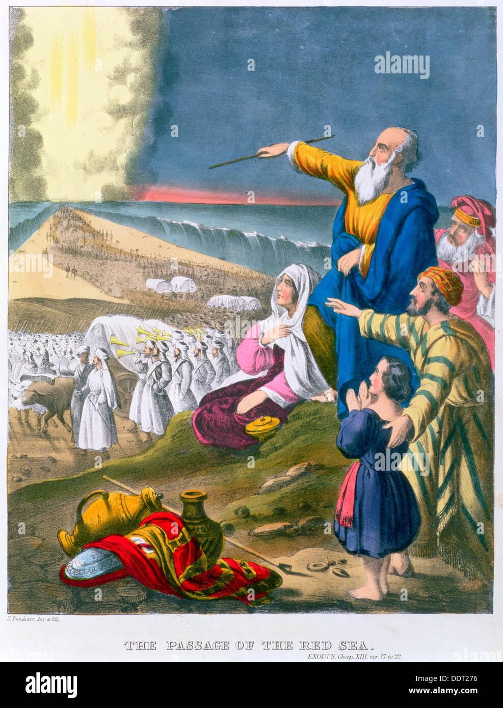 Mosè il troncaggio di Mar Rosso, 1870s. Artista: Siegfried Detlev Bendixen Immagini Stock