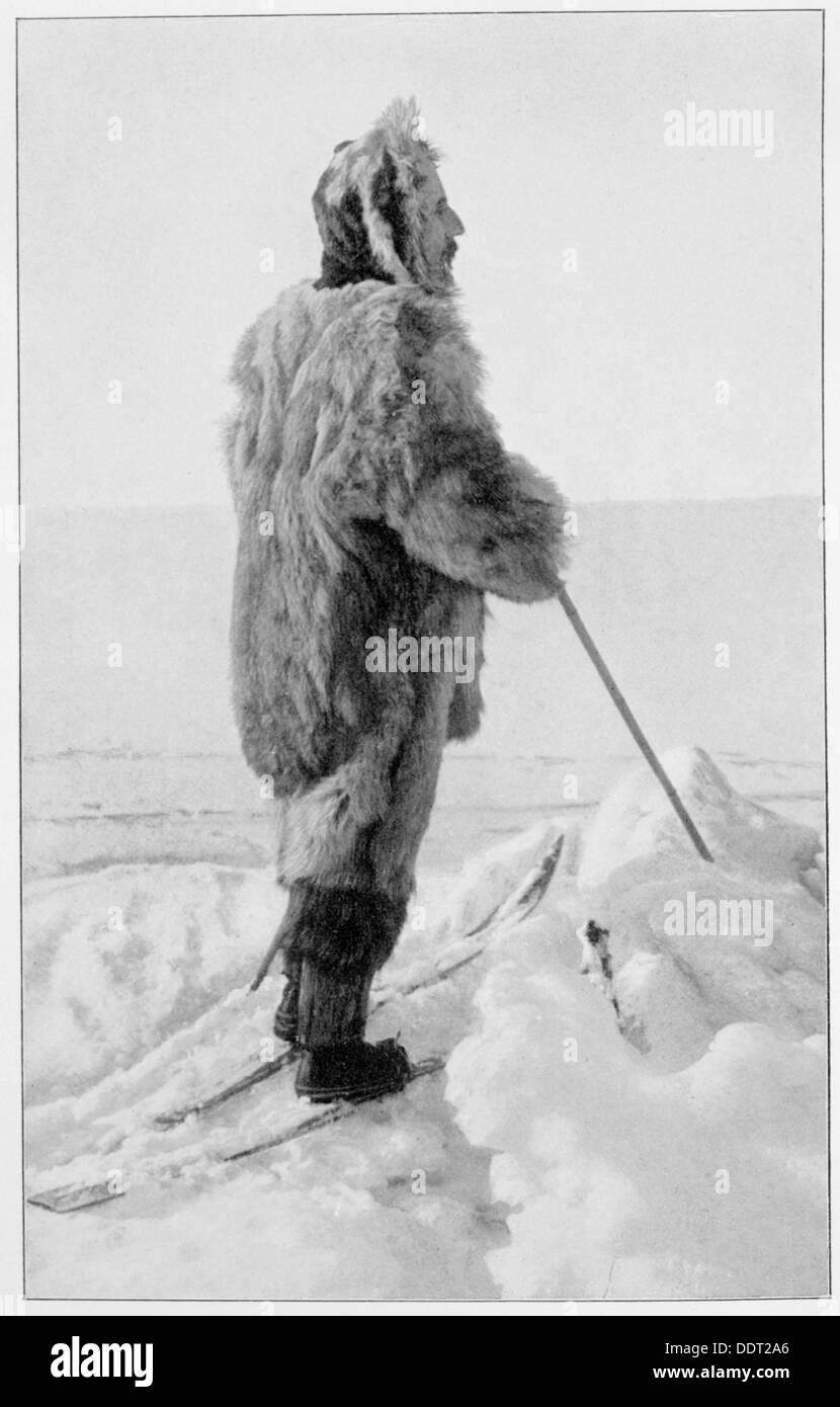 Roald Amundsen nel kit polare, Antartide, 1911-1912. Artista: sconosciuto Immagini Stock
