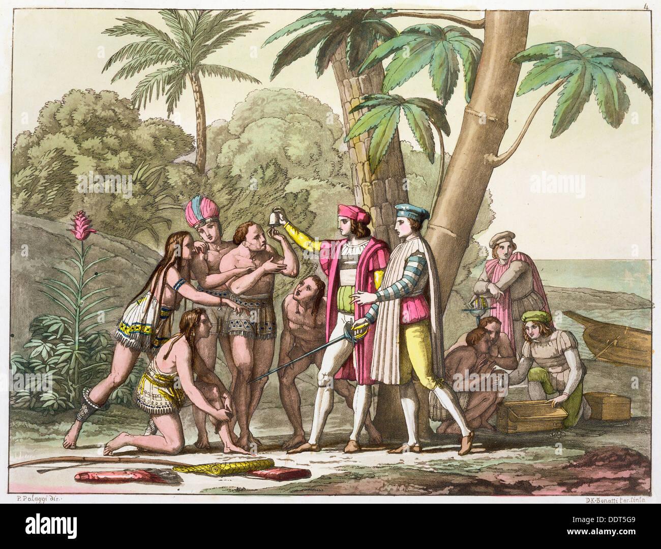 Cristoforo Colombo con i nativi americani, 1492-1503 (c1820-1839). Artista: DK Bonatti Immagini Stock