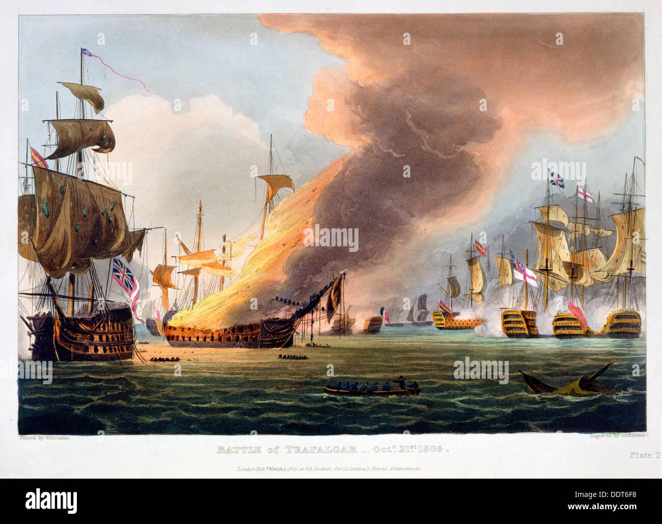 La Battaglia di Trafalgar, 21 ottobre 1805 (1816). Artista: Thomas Sutherland Immagini Stock