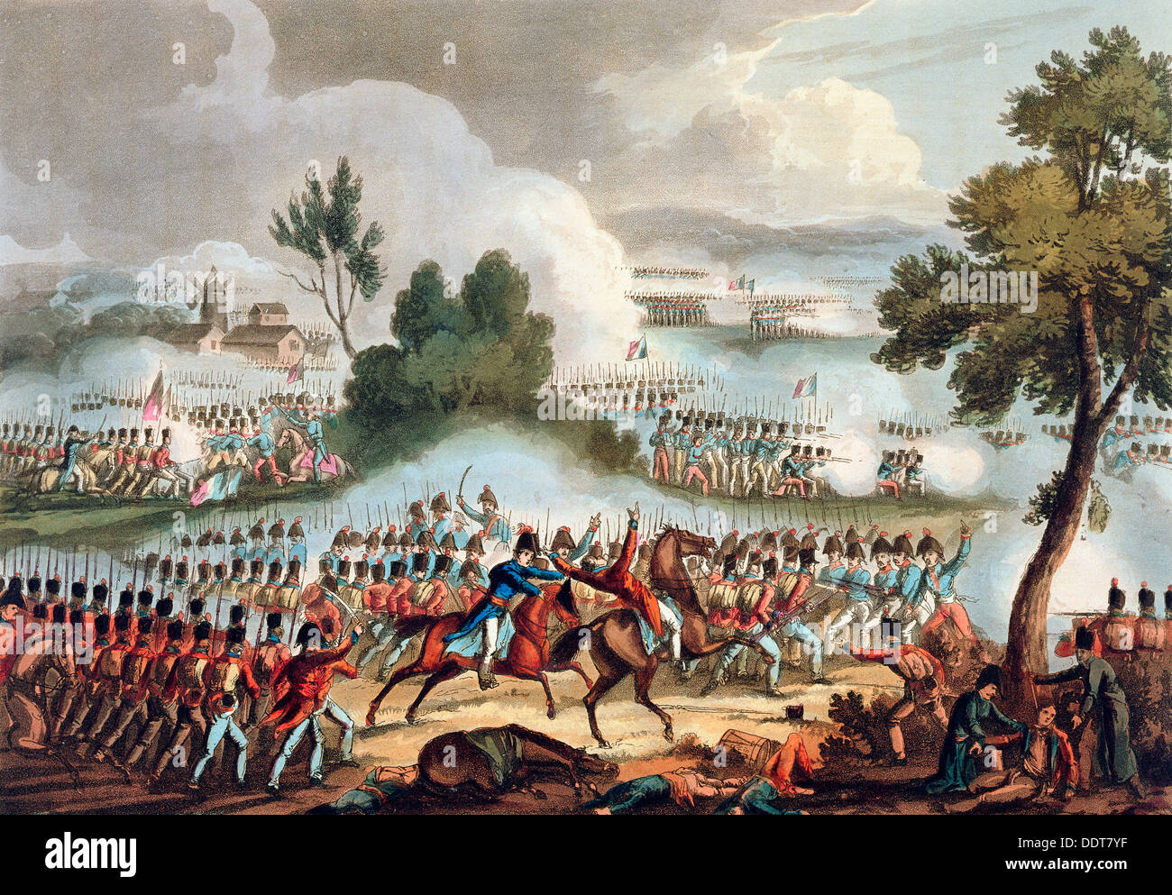 'L'ala sinistra dell'esercito britannico in azione nella battaglia di Waterloo, 18 giugno 1815 Artista: Thomas Sutherland Immagini Stock