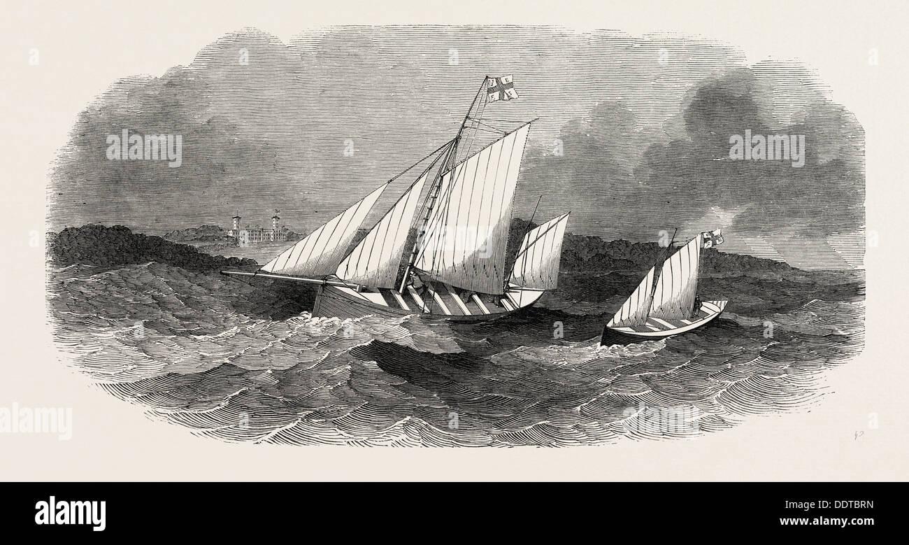Pesca ERRIS VITA DI INSEDIAMENTO DI BARCHE DA PESCA, ERRETER e speranza, 1851 l'incisione Immagini Stock