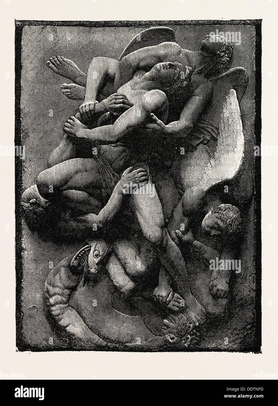Liberaci dal male, dalla LYRA germanica, 1860 l'incisione Immagini Stock