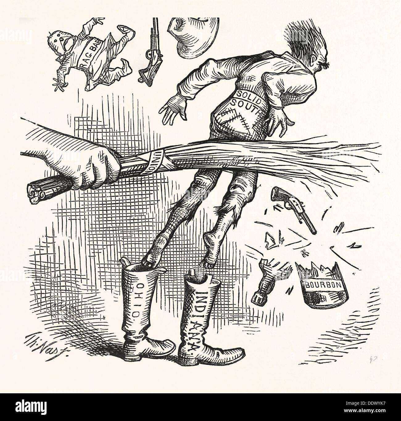 """Prossimi eventi gettano le loro ombre solide prima di loro. """" Un voto, scrutinio libero, equo contare.' incisione 1880, noi, Stati Uniti d'America, America Immagini Stock"""