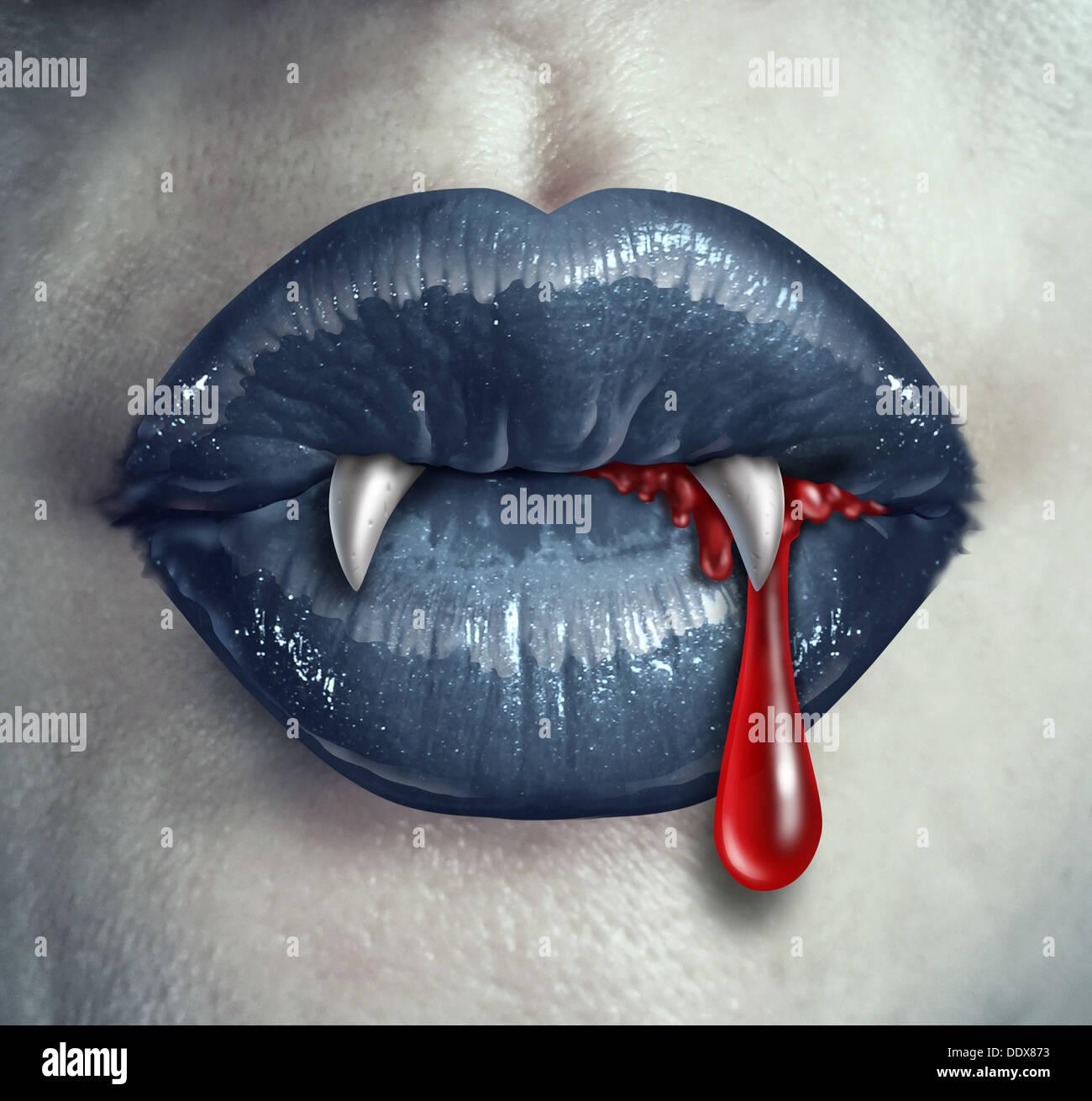 Orrore Vampire bloody denti canini e con uno stile gotico femmina con labbra nere e umano sangue liquido fuoriesce dalla bocca Immagini Stock