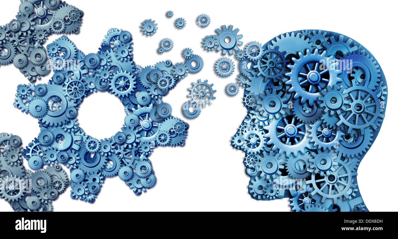 Pianificazione di un business utilizzando intelligenti strategie di leadership come una testa umana forma effettuati con gli ingranaggi e ruote dentate costruire una organizzazione simbolo a forma di dente di grandi dimensioni ruote su bianco. Immagini Stock