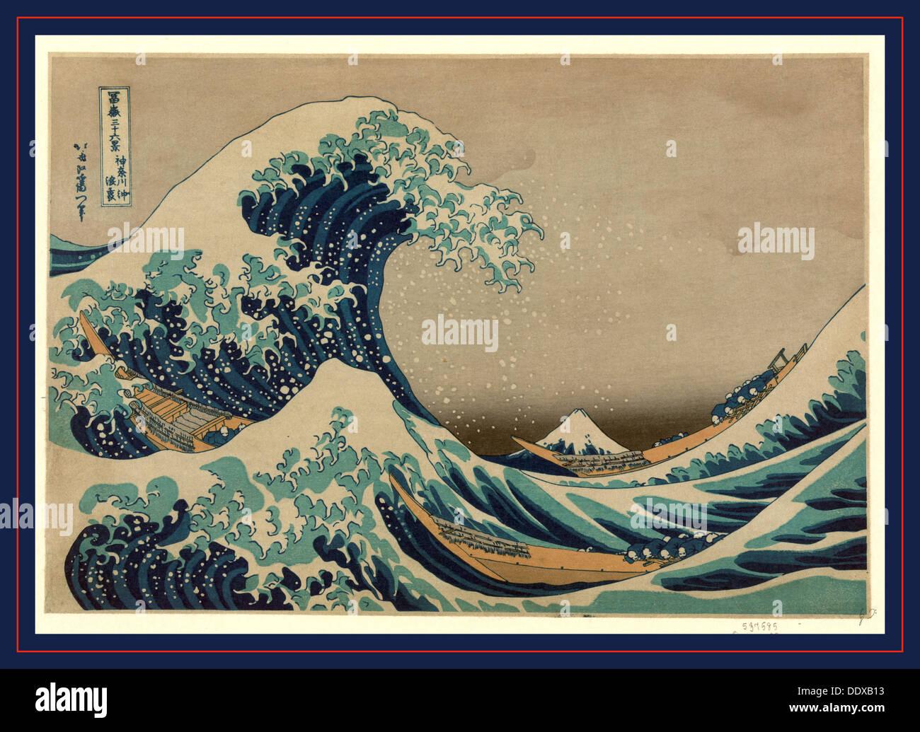 Kanagawa oki nami ura, la grande onda al largo di Kanagawa. [Tra 1826 e 1833, stampato in seguito], 1 stampa : xilografia, colore Immagini Stock