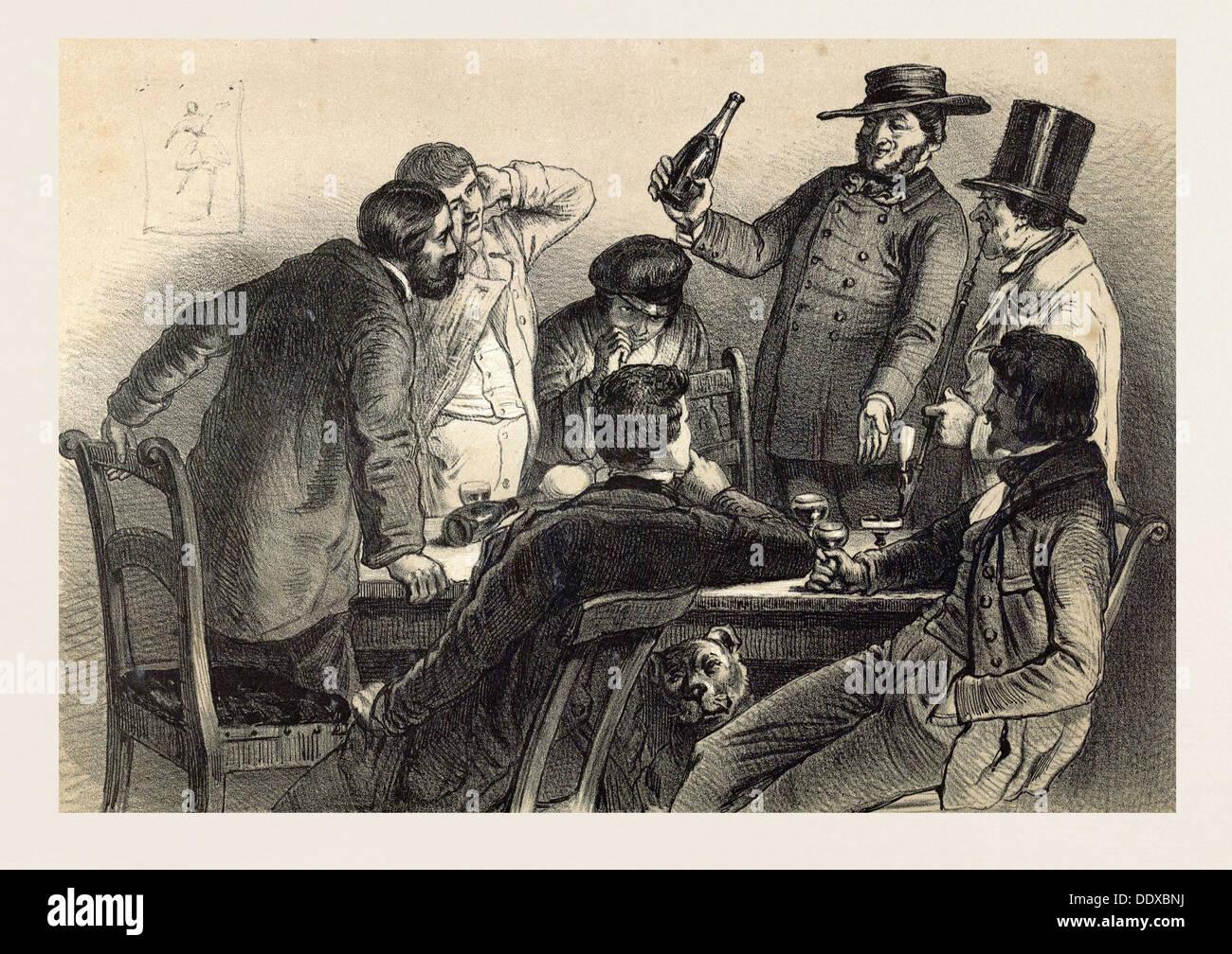 Bere le bottiglie in Germania, secolo XIX litografia, vino, di vetro, wine-bottiglia, alcool, alcolico, uomini, cane, occhiali Immagini Stock