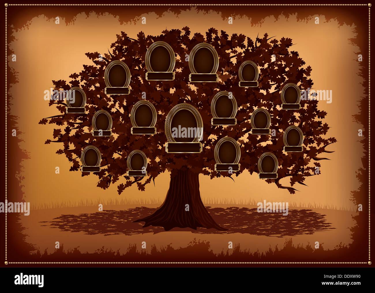 Vector albero genealogico con cornici e foglie. Posto per il testo. Immagini Stock