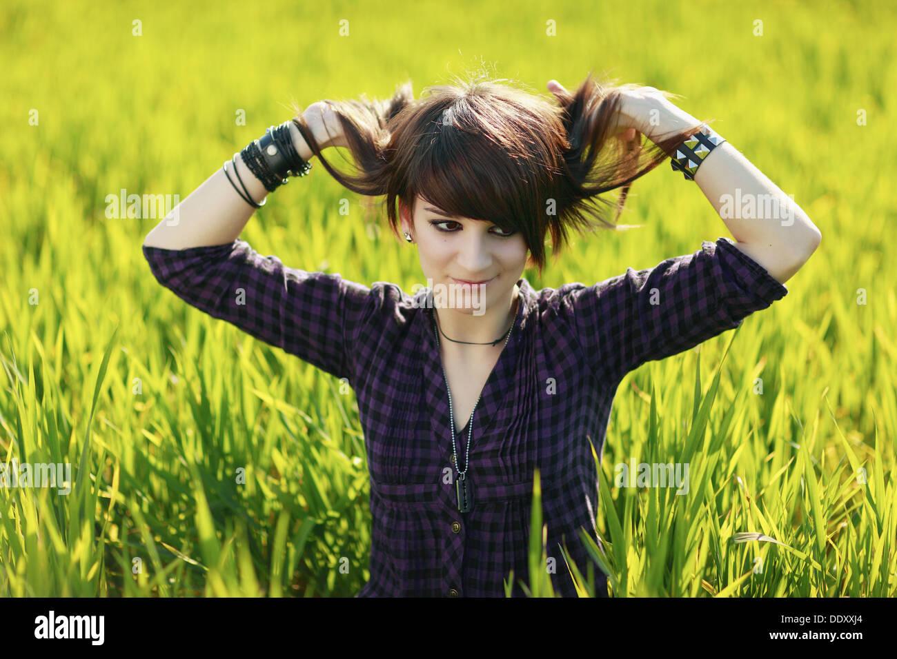 Adolescente en el campo, Sevilla, andalucía, España, Europa. Immagini Stock
