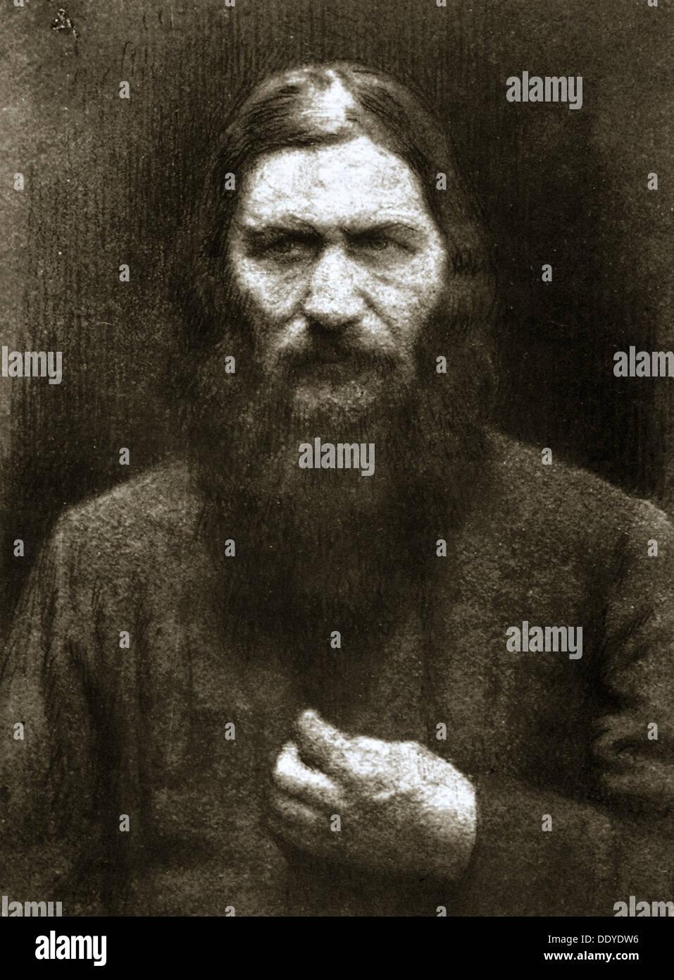Rasputin, Russo mistica, nei primi anni del XX secolo. Artista: sconosciuto Immagini Stock