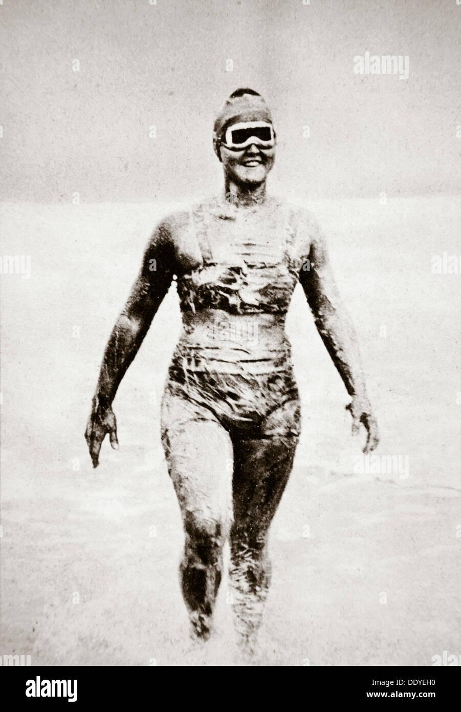 Gertrude Ederle, American nuotatore, 1926. Artista: sconosciuto Immagini Stock