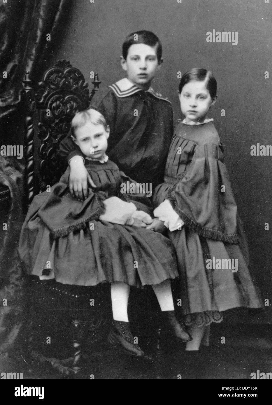 I tre figli maggiori del Granduca Konstantin Nikolayevich della Russia, C1860-c1861. Immagini Stock