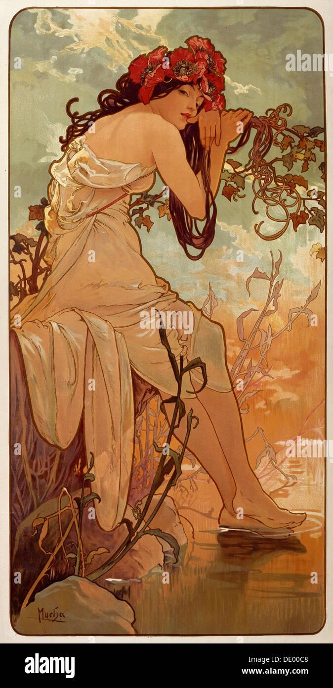 'Summer', 1896. Artista: Alphonse Mucha Immagini Stock