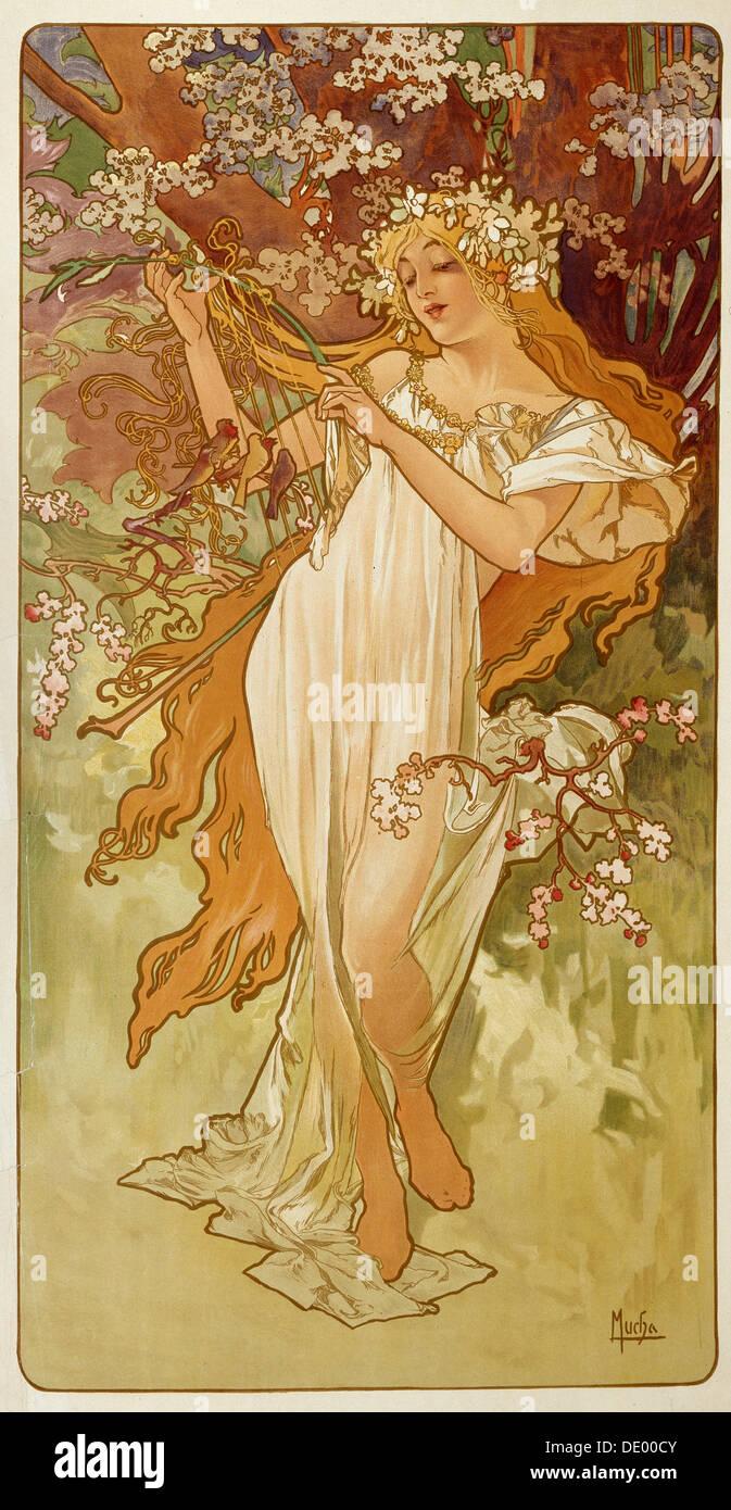 'Spring', 1896. Artista: Alphonse Mucha Immagini Stock
