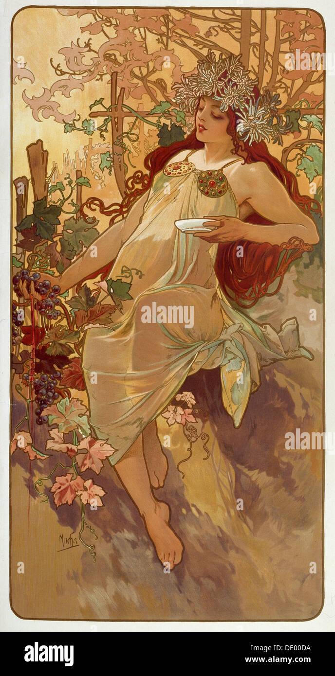 """""""Autunno"""", 1896. Artista: Alphonse Mucha Immagini Stock"""