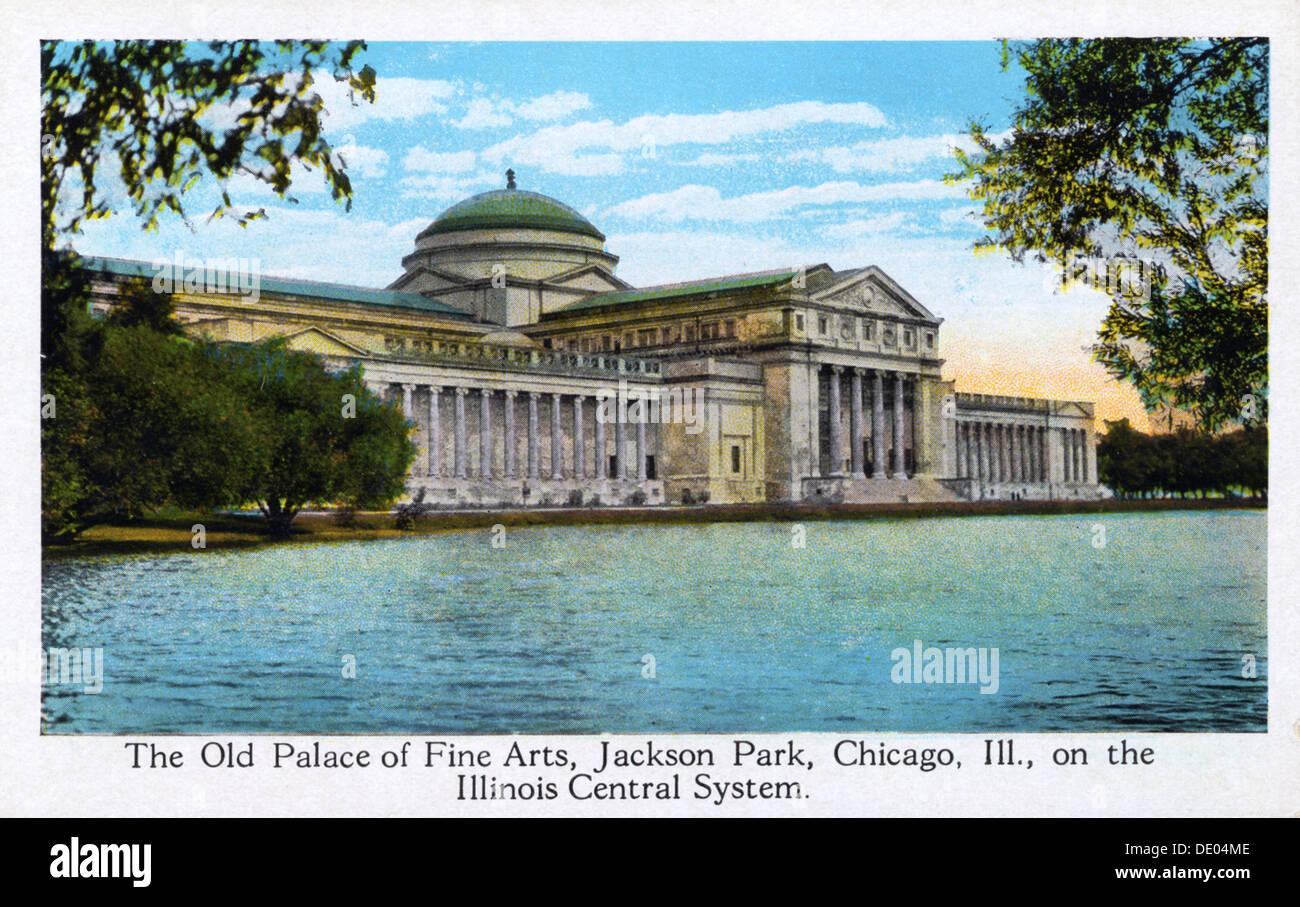 Il vecchio Palazzo delle Belle Arti, Jackson Park di Chicago, Illinois, USA, 1917. Immagini Stock