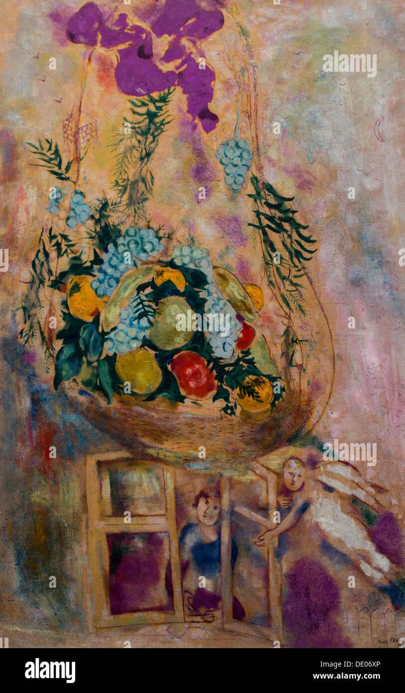 Xx secolo - Cesto di frutta, 1927 - Marc Chagall Philippe Sauvan-Magnet / Museo attivo olio su tela Immagini Stock