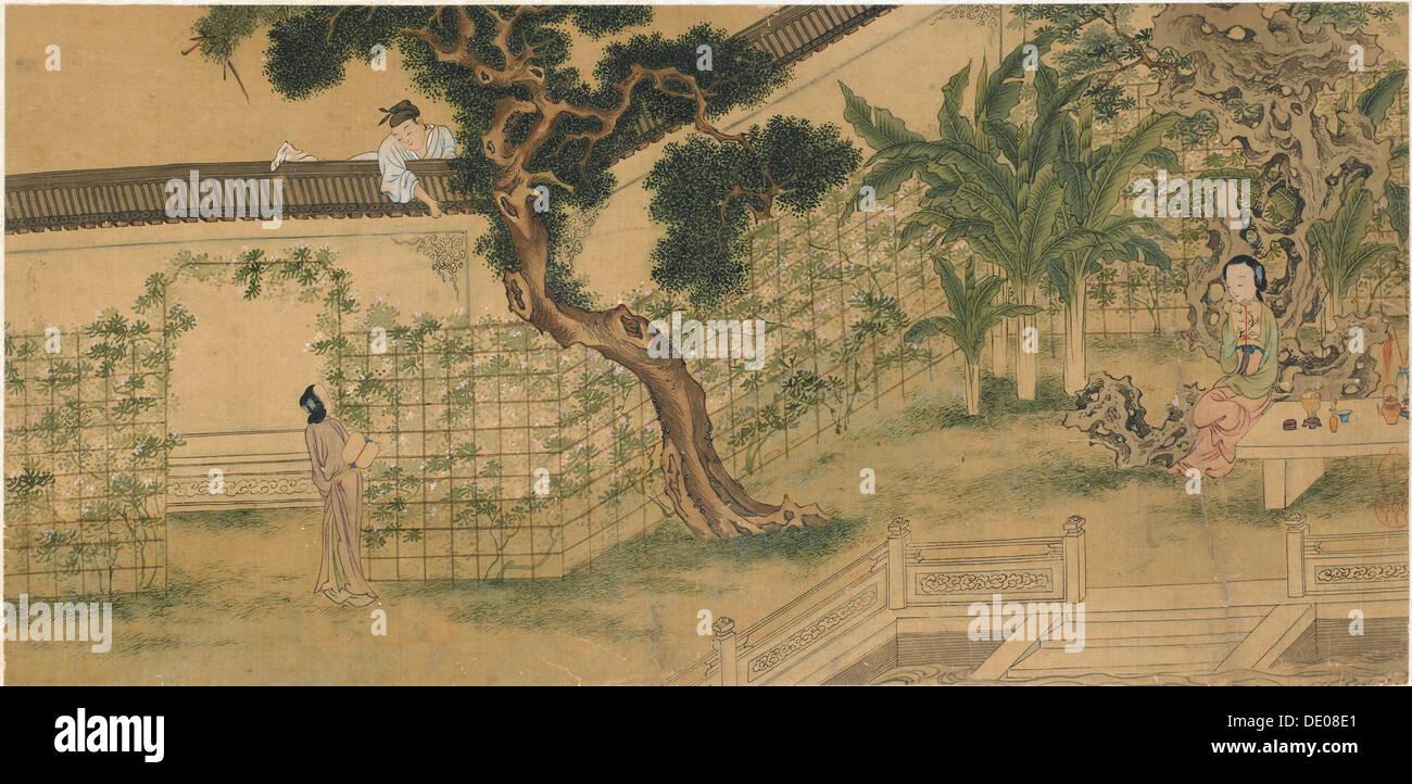 Scena da riprodurre il romanticismo del West, camera da Wang Shifu, del XVI secolo. Artista: Qiu Ying Immagini Stock