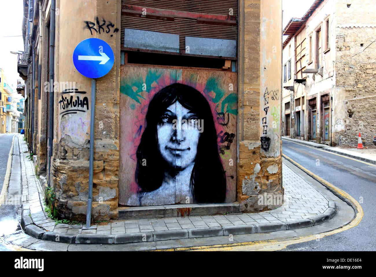 Cipro, Nicosia, Lefkosia, Città Vecchia, graffiti Immagini Stock