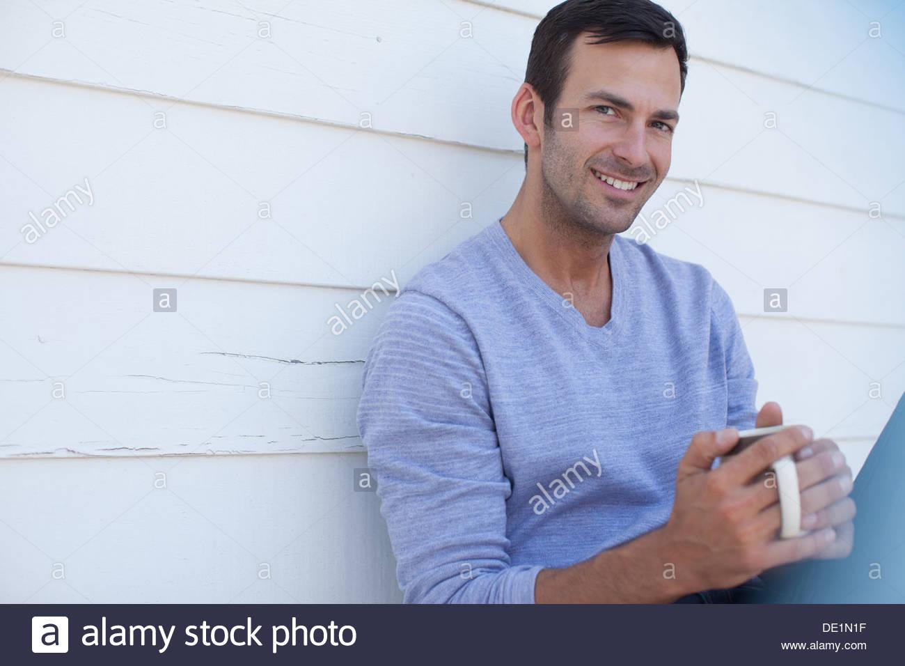 Close up dell uomo il volto sorridente Immagini Stock