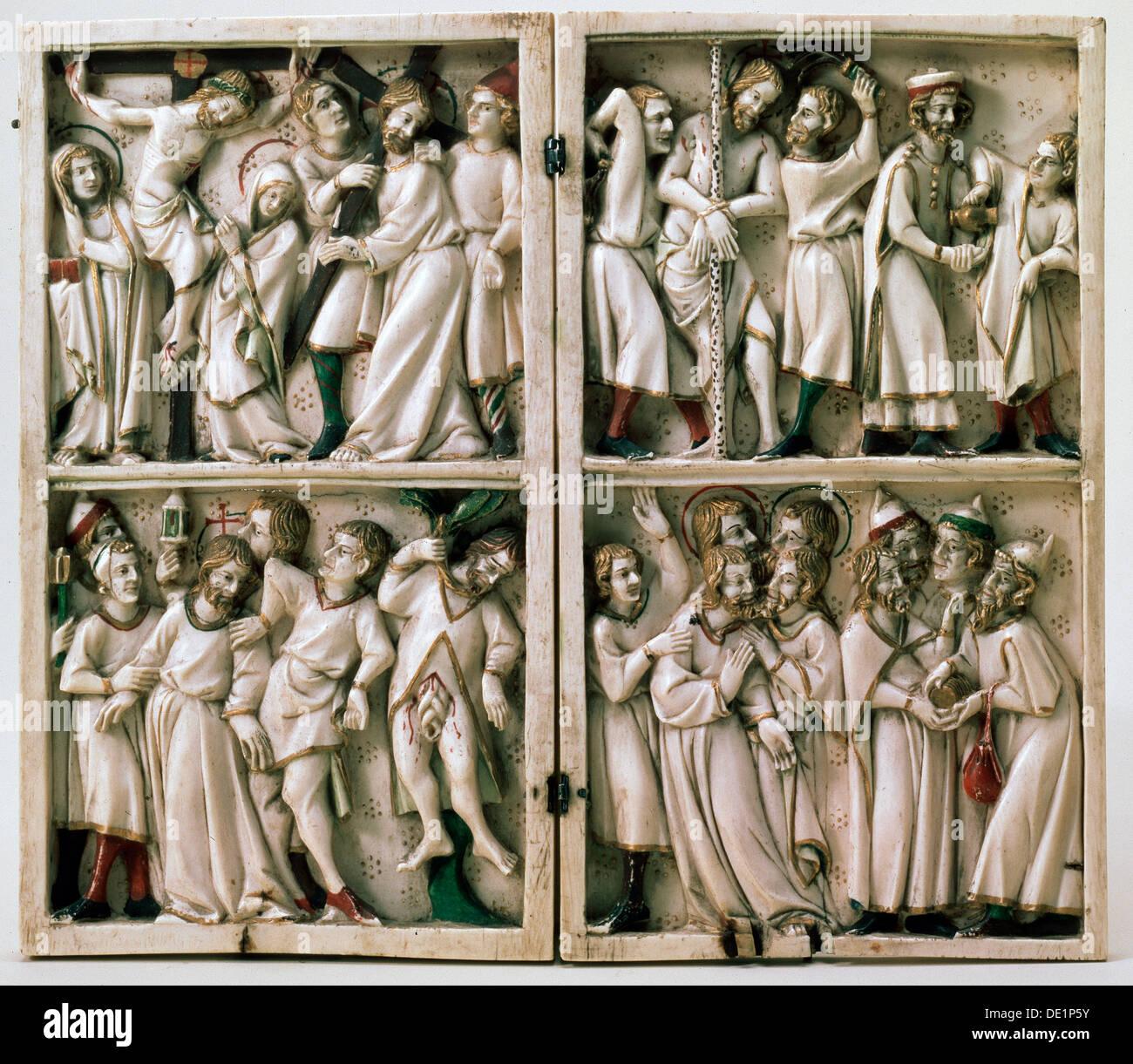 """'Diptych con soggetti del Vangelo"""", fine del XIV secolo. Immagini Stock"""