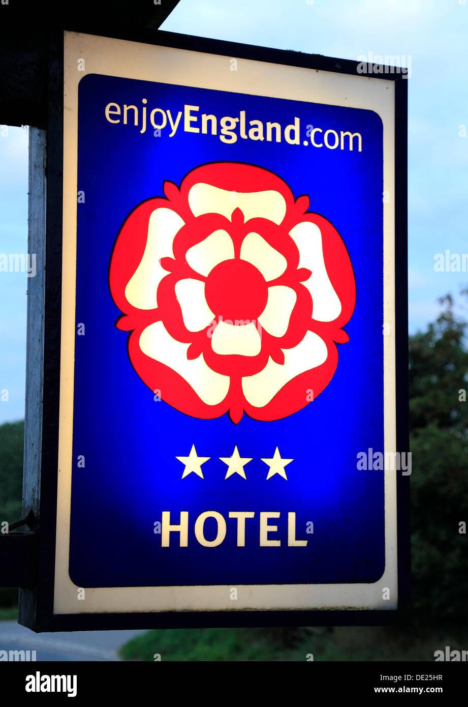 A est dell'Inghilterra, 3 stelle, stelle, segno, rating UK Immagini Stock