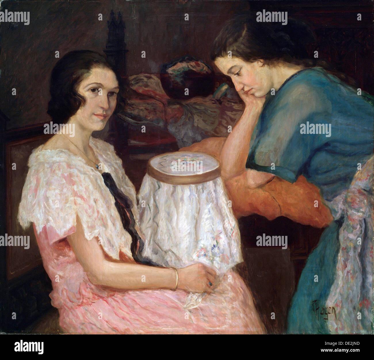 'La ricamatrice', XIX o xx secolo artista: Paolo Hagen Immagini Stock