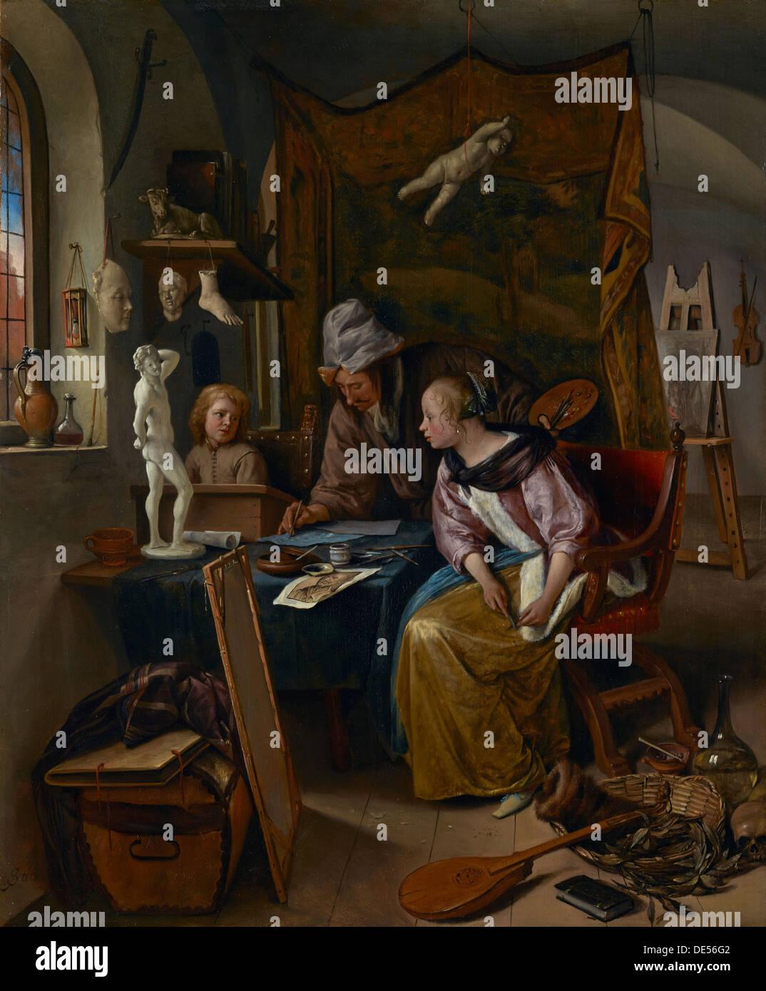 La lezione di disegno; Jan Steen, Olandese, 1626 - 1679; circa 1665; olio su pannello Immagini Stock