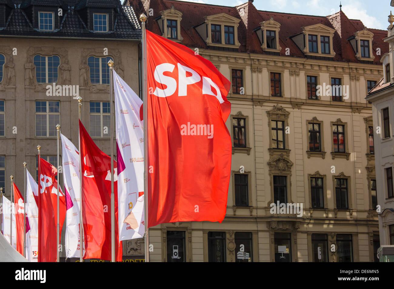 Leipzig, Germania, partito popolare per il centocinquantesimo anniversario della SPD alla Leipzig Piazza del Mercato Immagini Stock