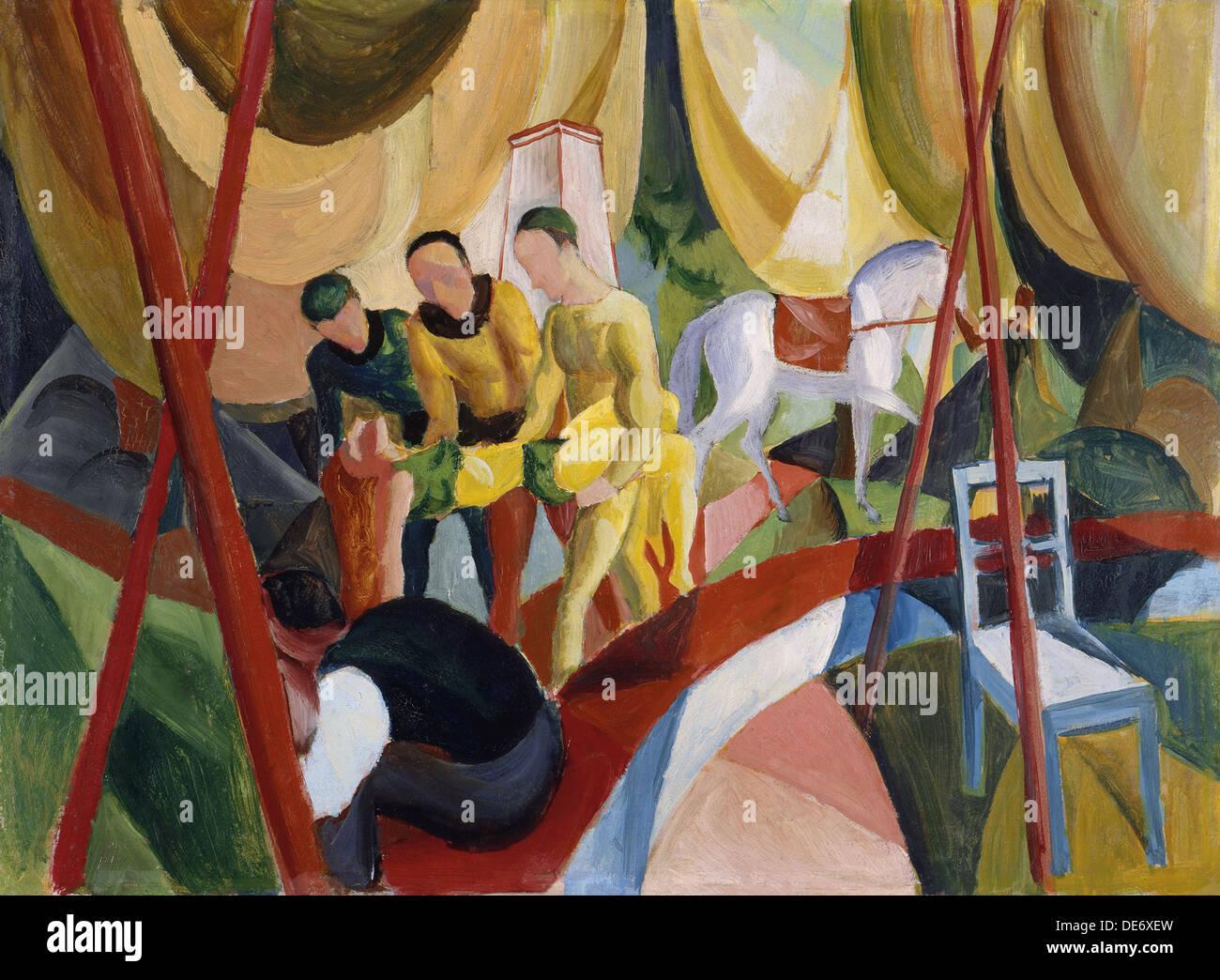 Circus, 1913. Artista: Macke, Agosto (1887-1914) Immagini Stock