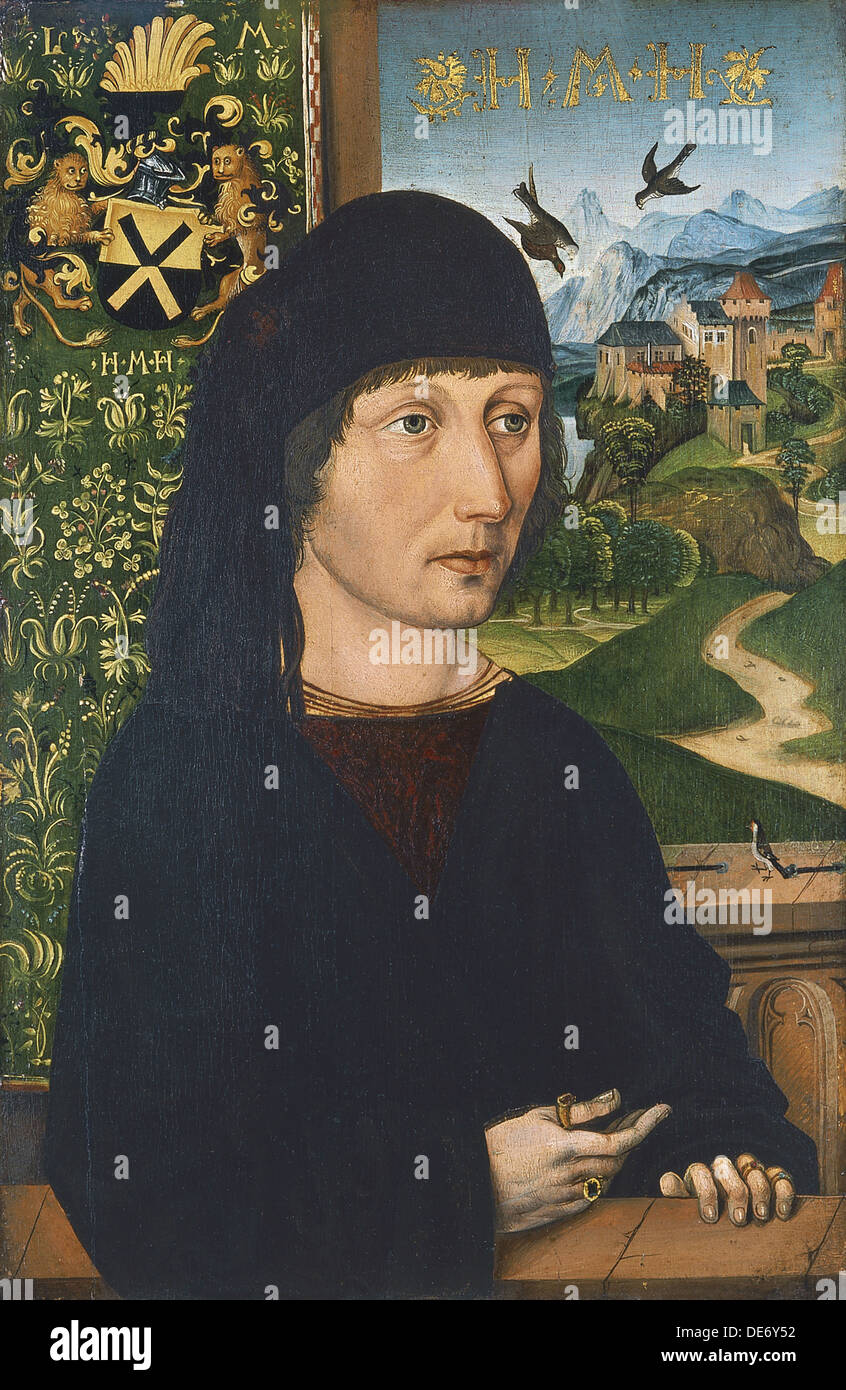Ritratto di Levinus Memminger, ca 1485. Artista: Wolgemut, Michael (1434-1519) Immagini Stock