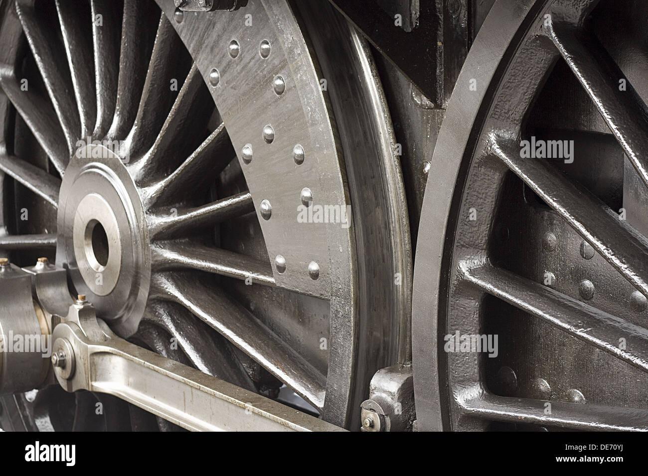 Treno a vapore ruote close up shot di dettaglio del telaio o di marcia Immagini Stock