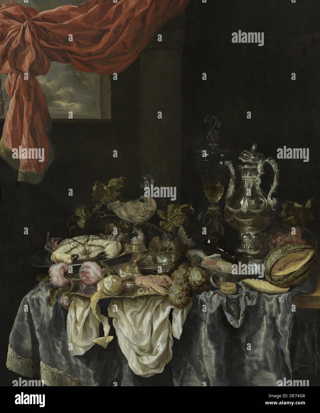 Sontuosa vita ancora, 1654. Artista: Beijeren, Abraham Hendricksz, van (1620/21-1690) Immagini Stock