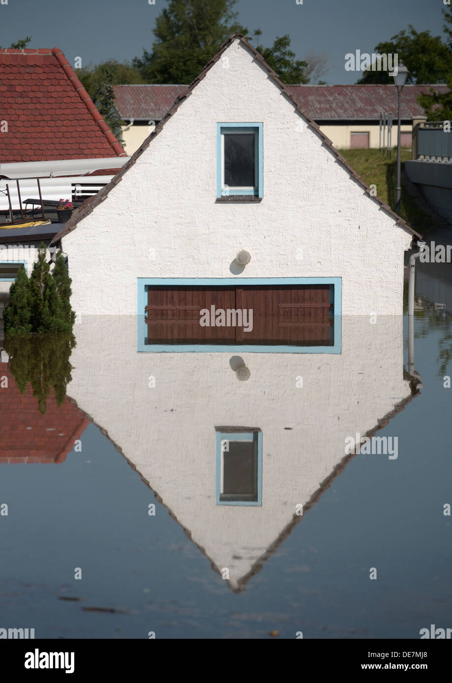 Muehl, Germania, inondata dal diluvio house Immagini Stock