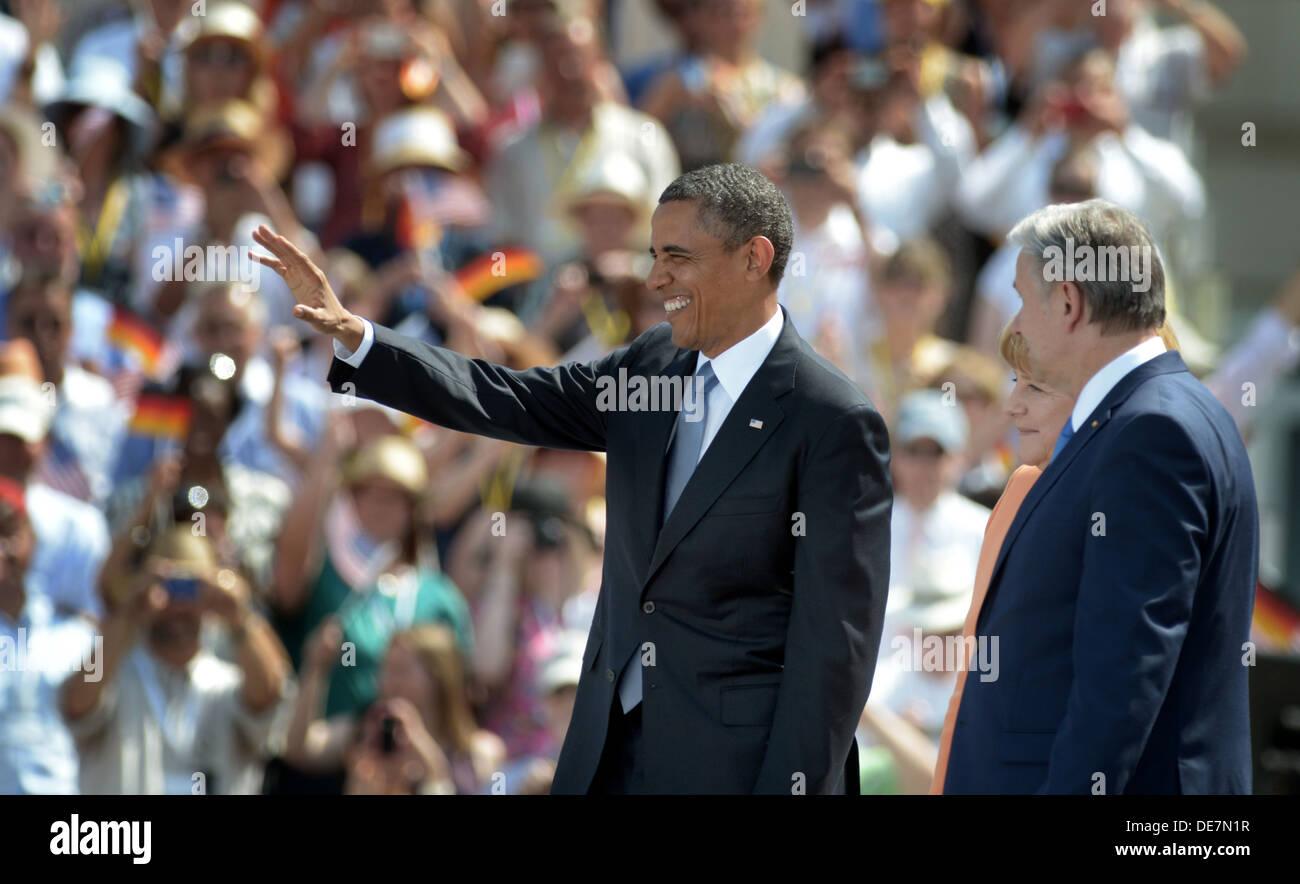 Berlino, Germania, Stati Uniti Il presidente Barack Obama alla Porta di Brandeburgo Immagini Stock