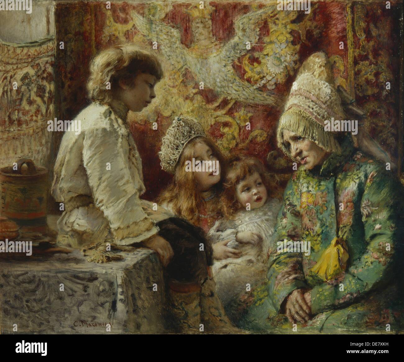 La nonna con bambini (Nonna Fiaba), 1882. Artista: Makovsky, Konstantin Yegorovich (1839-1915) Immagini Stock