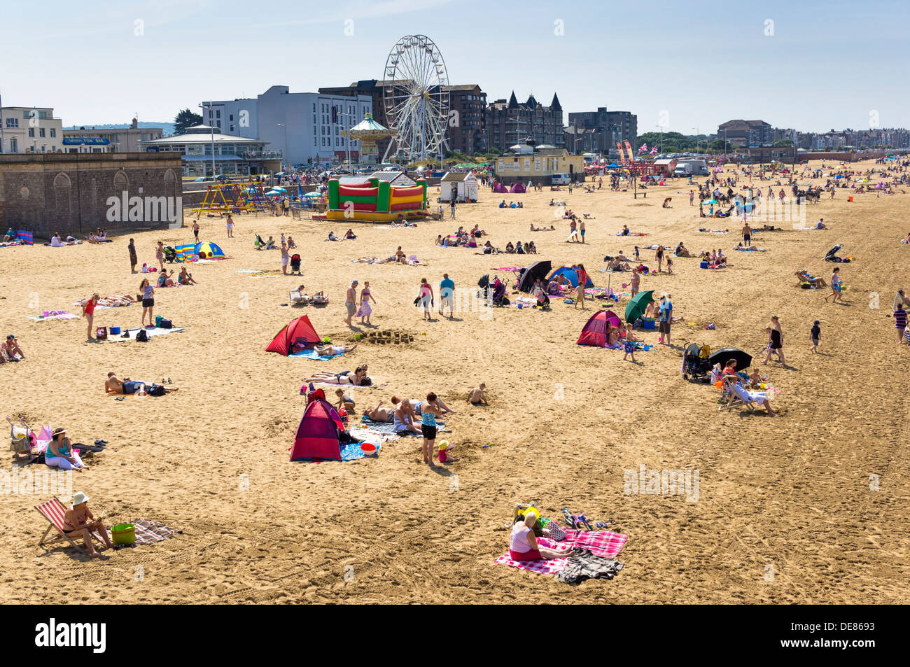 Weston Super Mare, Somerset seaside beach, UK, in estate Immagini Stock