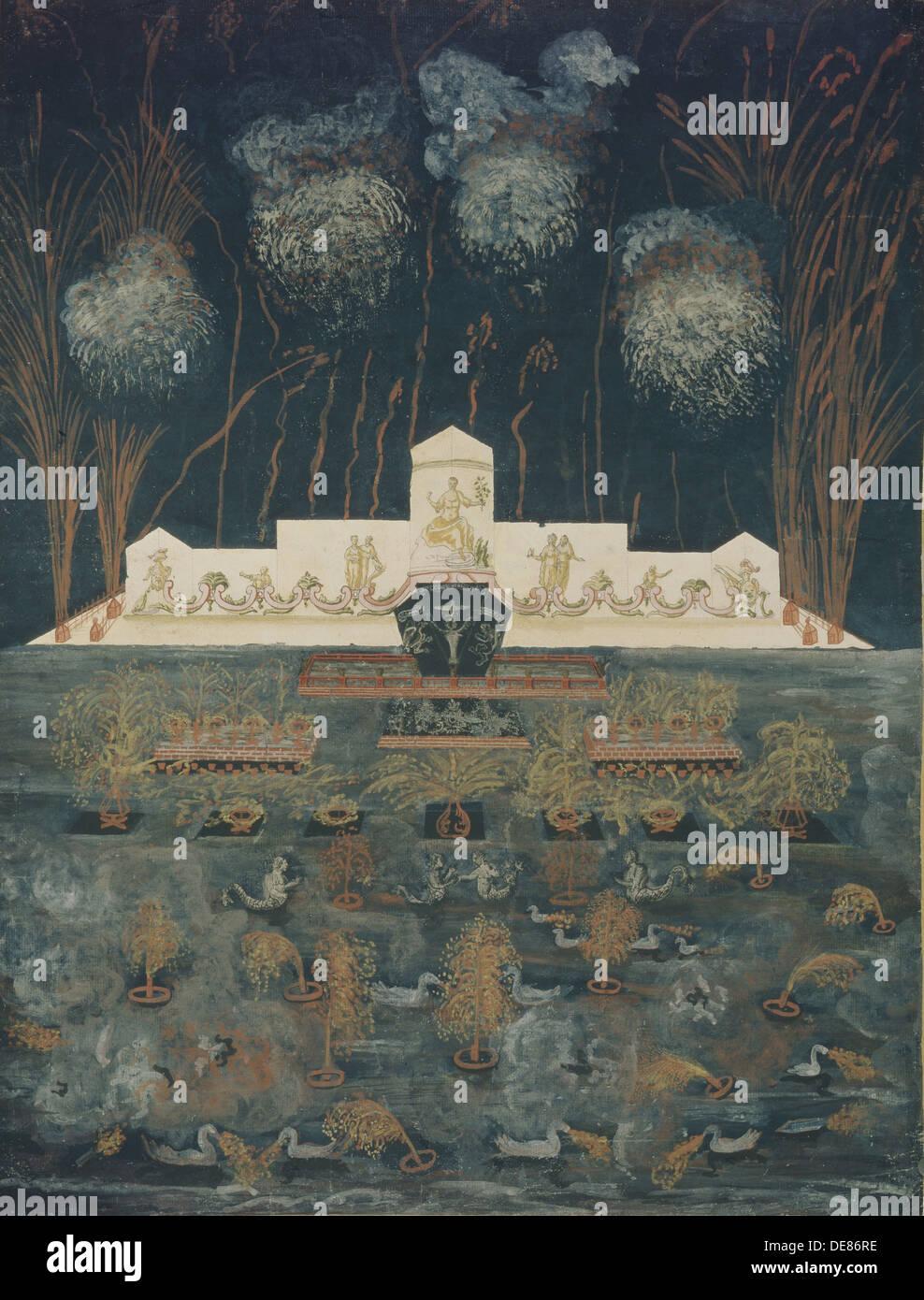 Fuochi d'artificio e illuminazione in occasione del trattato di Abo su settembre 15th, 1743, metà del XVIII sec.. Artista: Anonimo Immagini Stock
