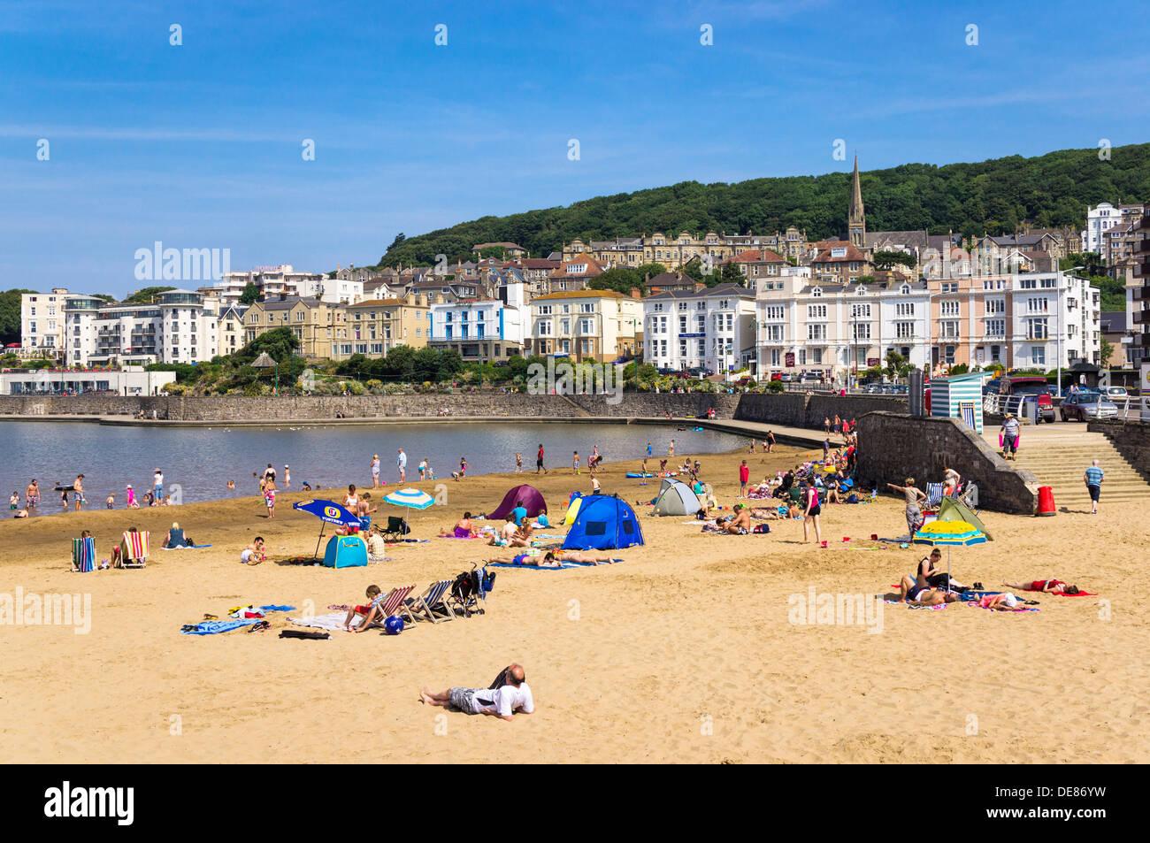 Lago marino spiaggia a Weston-Super-Mare, Somerset, Regno Unito Immagini Stock