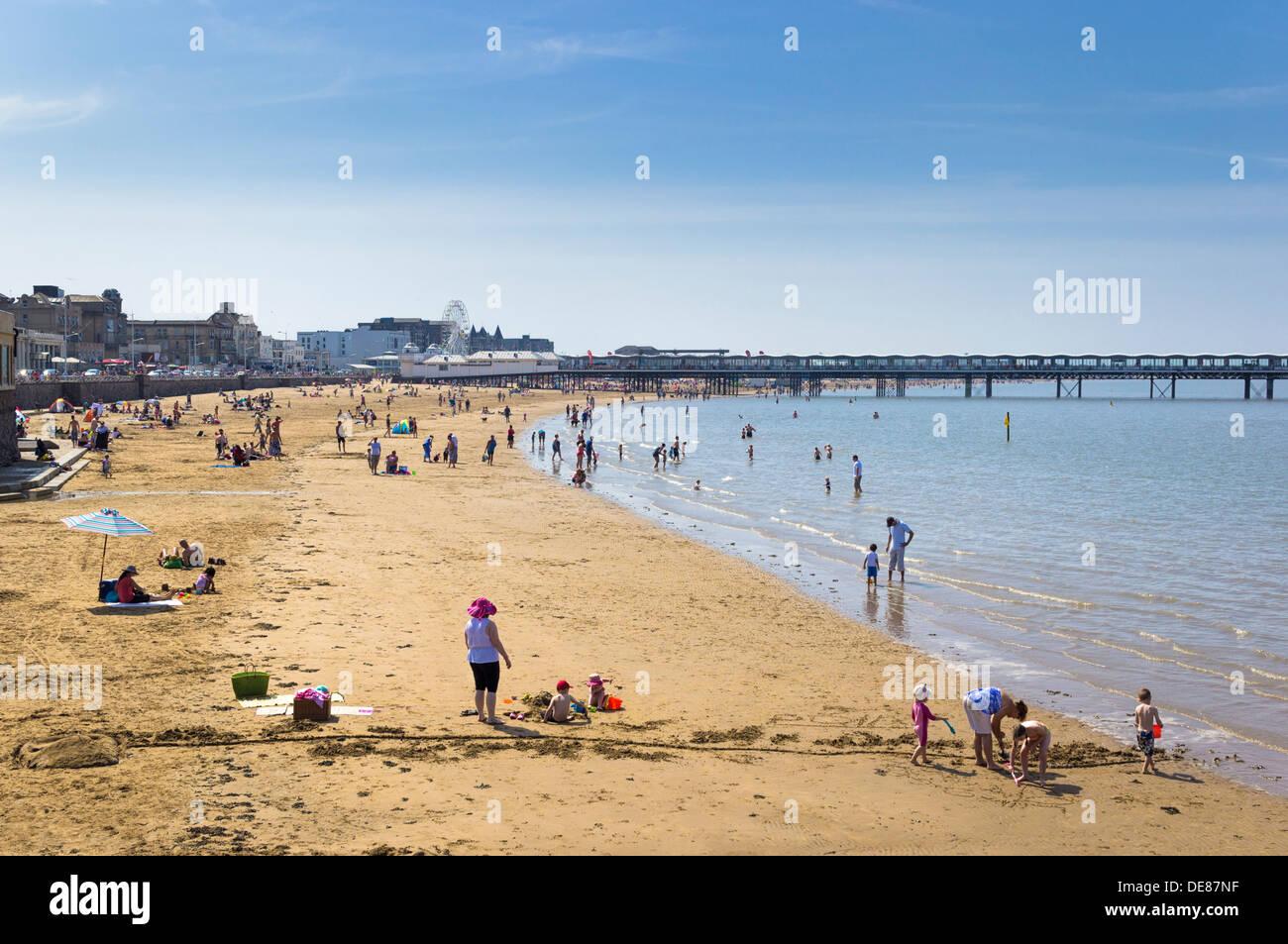 Spiaggia REGNO UNITO - la spiaggia balneare Weston Super Mare, Somerset, Regno Unito Immagini Stock