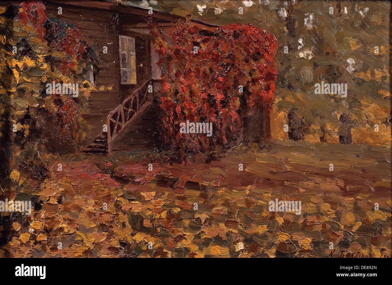 Un paese abbandonato casa, 1909. Artista: Bakhtin, Konstantin Nikolayevich (1873-dopo il 1928) Immagini Stock