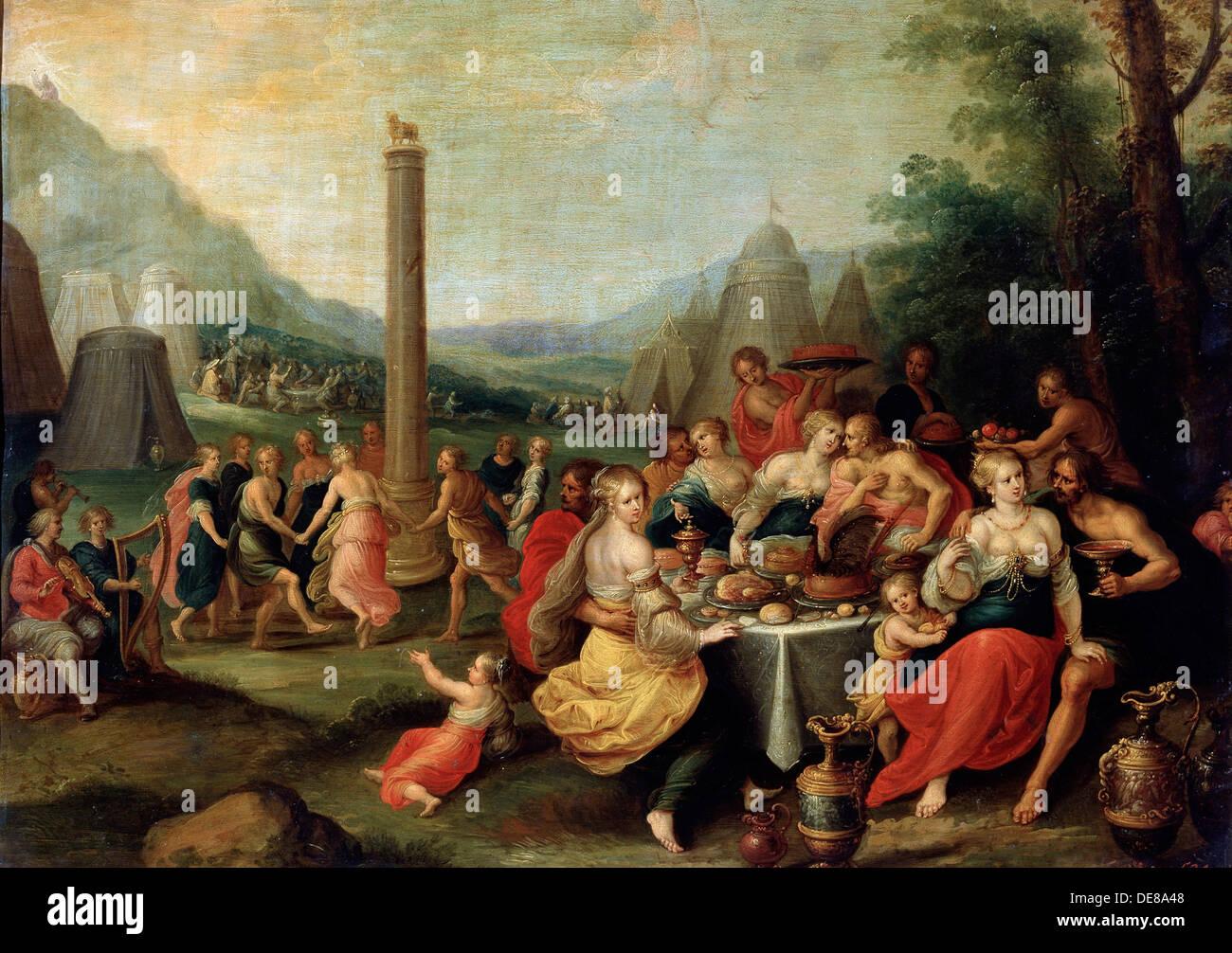 """""""L'Adorazione del vitello d'Oro"""", fine 1620 s. Artista: Frans Francken II Foto Stock"""