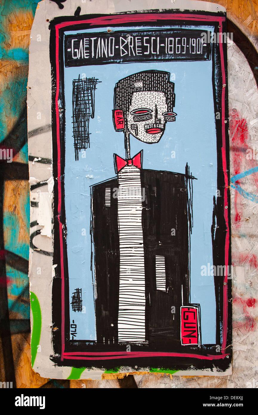 East End di Londra Isola di pesce Hackney Wick graffiti graffitti grafitti grafiti street arte murale di Alo di Gaetano Bresci italiano anarchico americano Immagini Stock