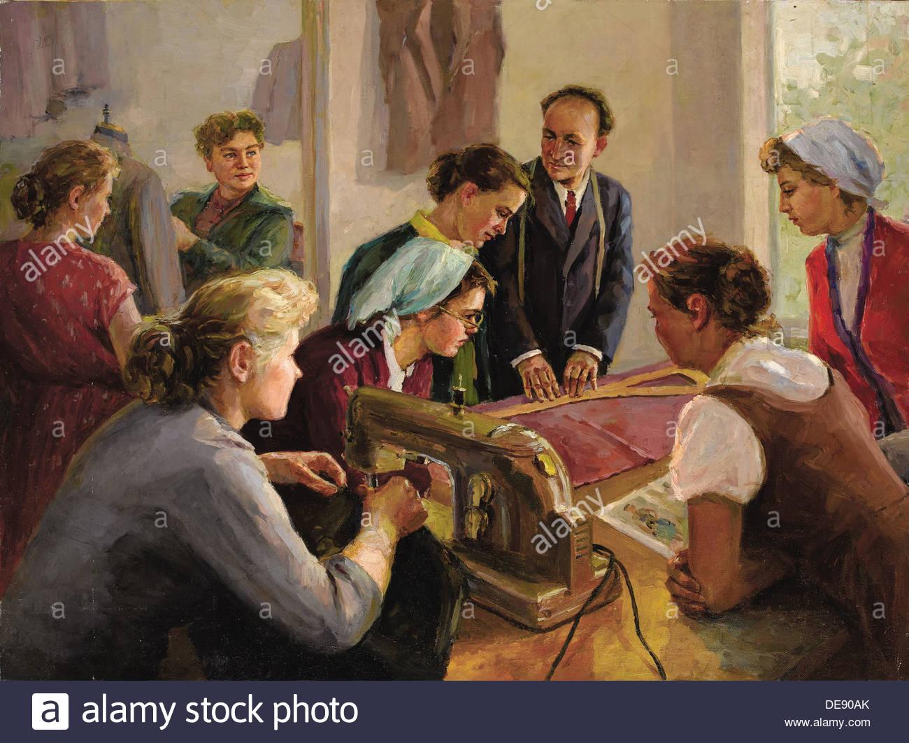La lezione di cucitura, 1960. Artista: Bogdanov, Valentin Alexandrovich (1919-1985) Immagini Stock