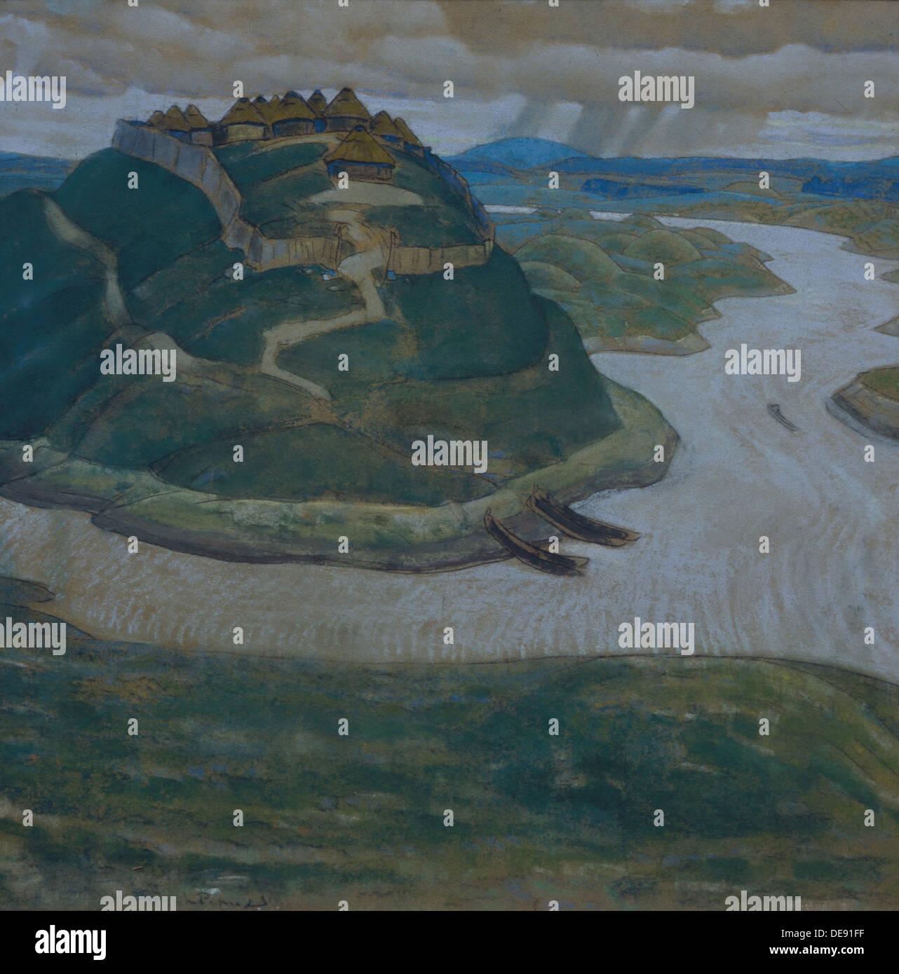 Gorodishche (vecchio slavo insediamento fortificato.). Artista: Roerich, Nicholas (1874-1947) Immagini Stock